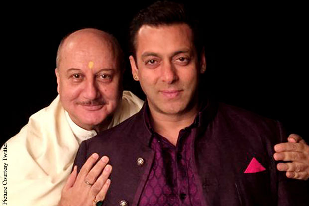 Anupam Kher and Salman Khan on the sets of movie 'Prem Ratan Dhan Payo'
