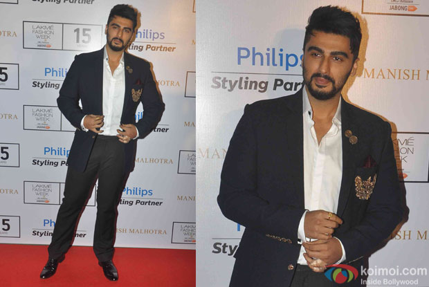 Arjun Kapoor during fashion designer Manish Malhotra's show at the Lakme Fashion Week Winter Festive 2015