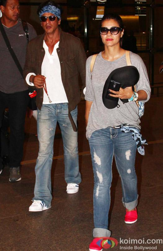Shah Rukh Khan  and Kajol Return from 'Dilwale' Shoot
