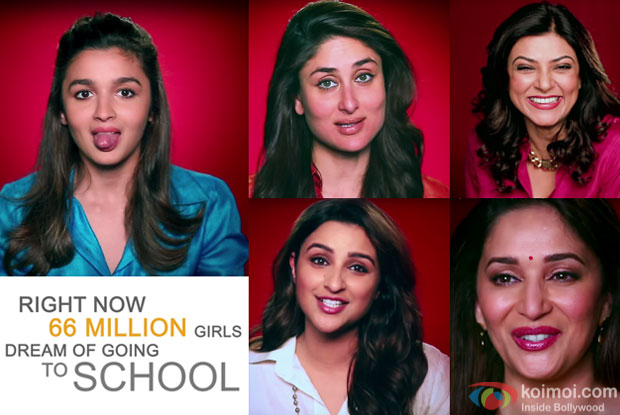 Alia Bhatt, Kareena Kapoor, Parineeti Chopra, Sushmita Sen and Madhuri Dixit in stil from the teaser of Girl Rising India - Woh Padhegi, Woh Udegil from