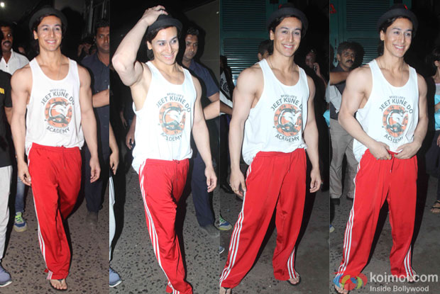 Tiger Shroff snapped outside the sets of flying jat