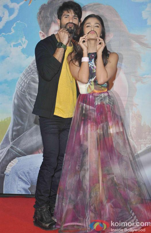 Shahid Kpaoor and Alia Bhatt during the Trailer launch of Movie Shaandaar