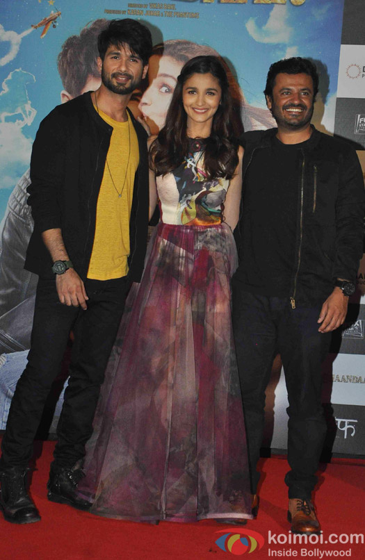 Shahid Kpaoor, Alia Bhatt and vikas bahl during the Trailer launch of Movie Shaandaar