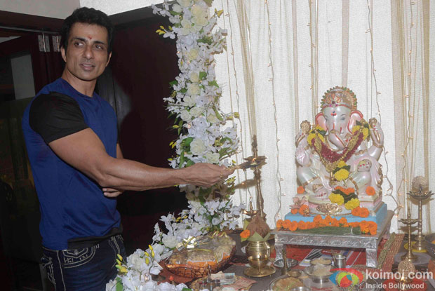 Sonu Sood during the Ganesh festival celebrations