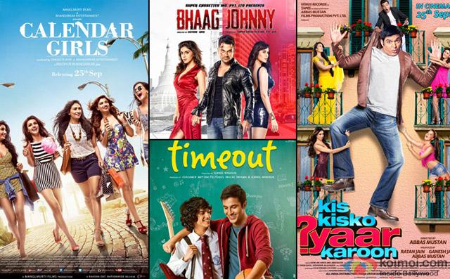 Calendar Girls, Bhaag Johnny, Timeout and Kis Kisko Pyaar Karoon Movie Poster
