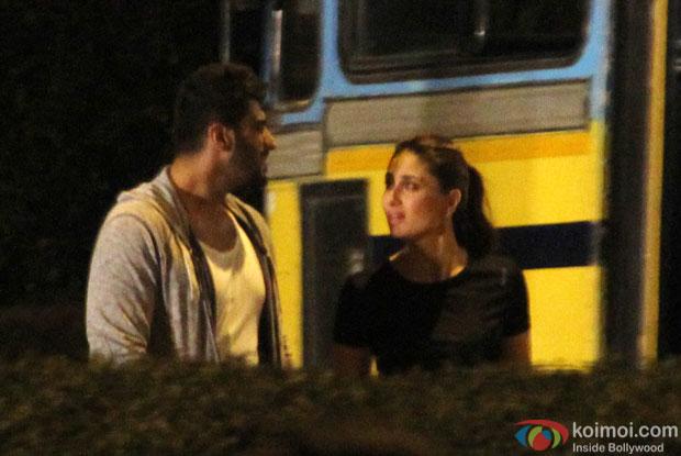 Arjun Kapoor and Kareena Kapoor during the Shooting