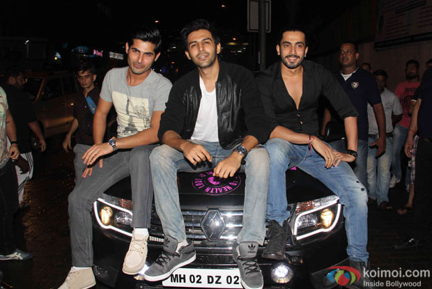 Kartik Aaryan, Omkar Kapoor and Sunny Singh during the promotion of movie Pyaar Ka Punchnama 2