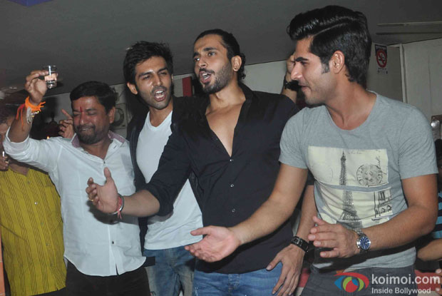 Kartik Aaryan, Sunny Singh and Omkar Kapoor during the promotion of movie Pyaar Ka Punchnama 2