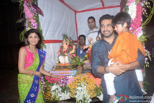 Shilpa Shetty, Raj Kundra and Viaan Raj Kundra during the Ganpati Visarjan