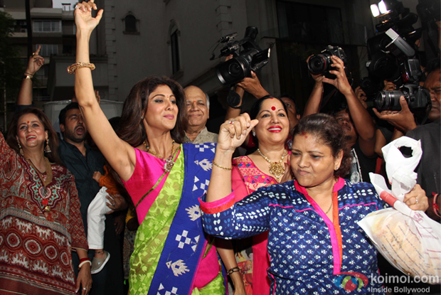 Shilpa Shetty during the Ganpati Visarjan