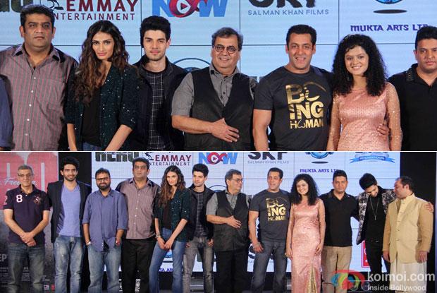 Amaal Mallik, Nikhil Malik, Athiya Shetty, Sooraj Pancholi, Shubhash Ghai, Salman Khan, Palak Muchhal, Bhushan Kumar, Armaan Malik, Rahat Fateh Ali Khan  During The Hero Music Concert