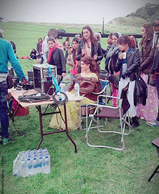 Jacqueline Fernandez and Nargis Fakhri on the shoot location of Housefull 3