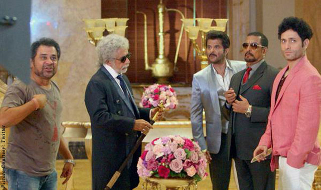 Anees Bazmee, Naseeruddin Shah, Anil Kapoor, Nana Patekar and Shiney Ahuja on the sets of movie 'Welcome Back'