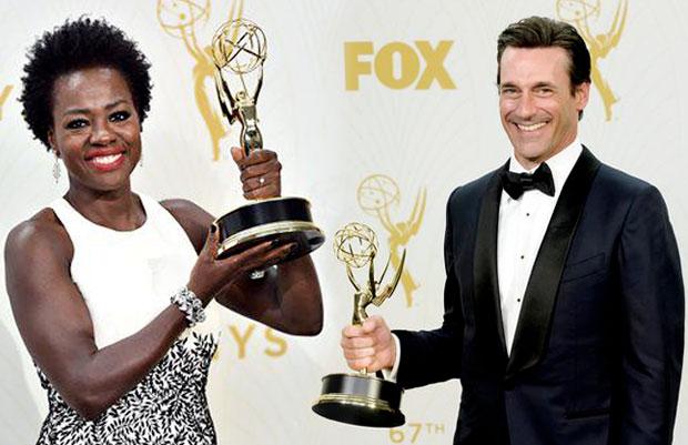 Viola Davis and Jon Hamm during the Emmy Awards 2015