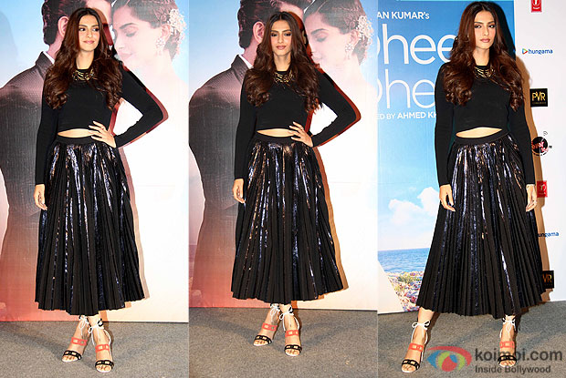 "Sonam Kapoor during the launch of song ""dheere dheere se"""