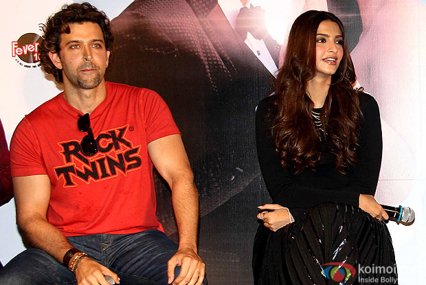 "Hrithik Roshan and Sonam Kapoor during the launch of song ""dheere dheere se"""