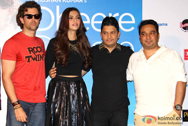 "Hrithik Roshan, Sonam Kapoor, Bhushan Kumar and Ahmed Khan during the launch of song ""dheere dheere se"""