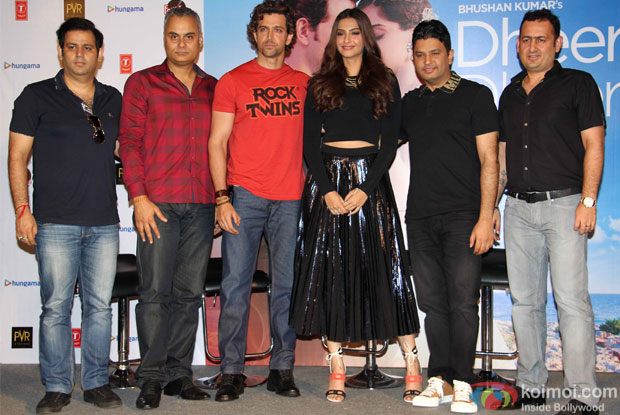 "Hrithik Roshan, Sonam Kapoor and Bhushan Kumar during the launch of song ""dheere dheere se"""