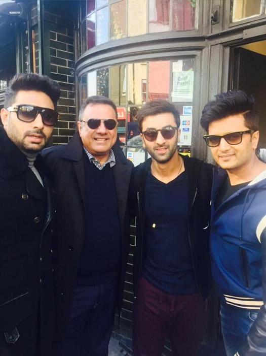 Abhishek Bachchan, Boman Irani, Ranbir Kapoor and Riteish Deshmukh on location of movie 'Ae Dil Hai Mushkil'