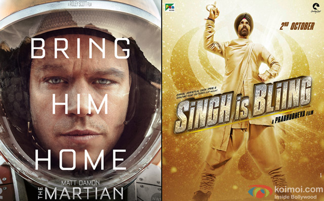 The Martian and Singh Is Bliing Movie Poster