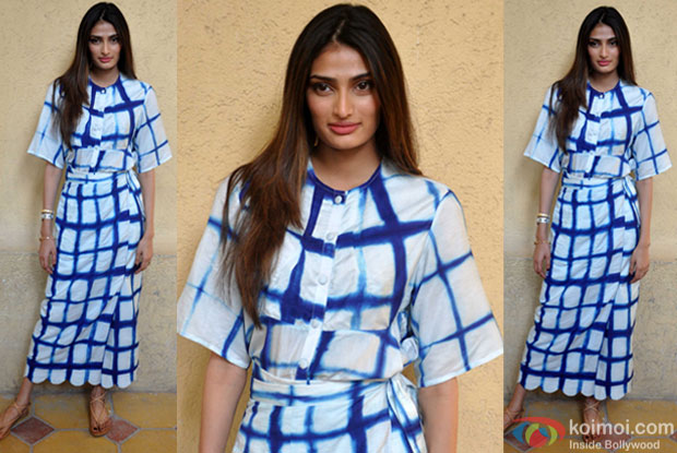 Athiya Shetty during the promotion of movie hero