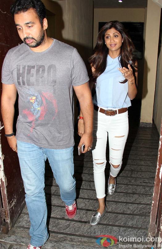 Raj Kundra And Shilpa Shetty Spotted At PVR