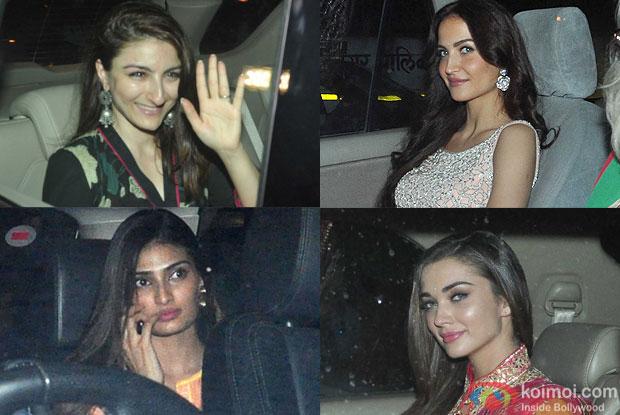 Soha Ali Khan, Elli Avaram, Athiya Shetty, Amy Jackson during the Ganesh festival celebrations in Salman Khan house