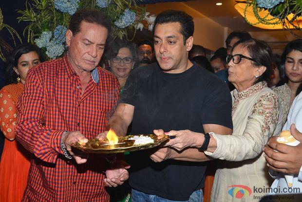 Salim Khan, Salman Khan And sushila charak during the ganpati visarjan