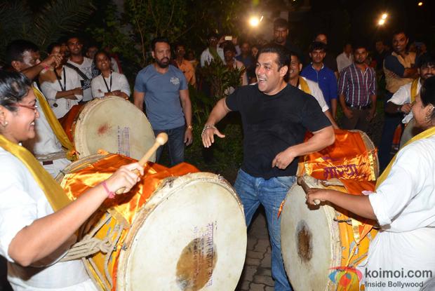 Salman Khan Khan during the ganpati visarjan