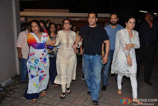 Sushila Charak and Salman Khan during the ganpati visarjan