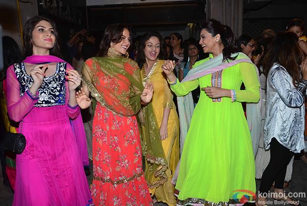 Elli Avram and Daisy Shah during the Salman Khan's ganpati visarjan