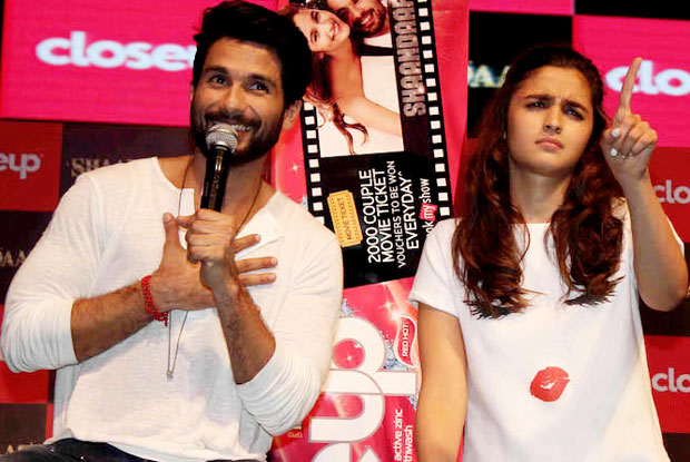 Shahid Kapoor and Alia Bhatt at an event