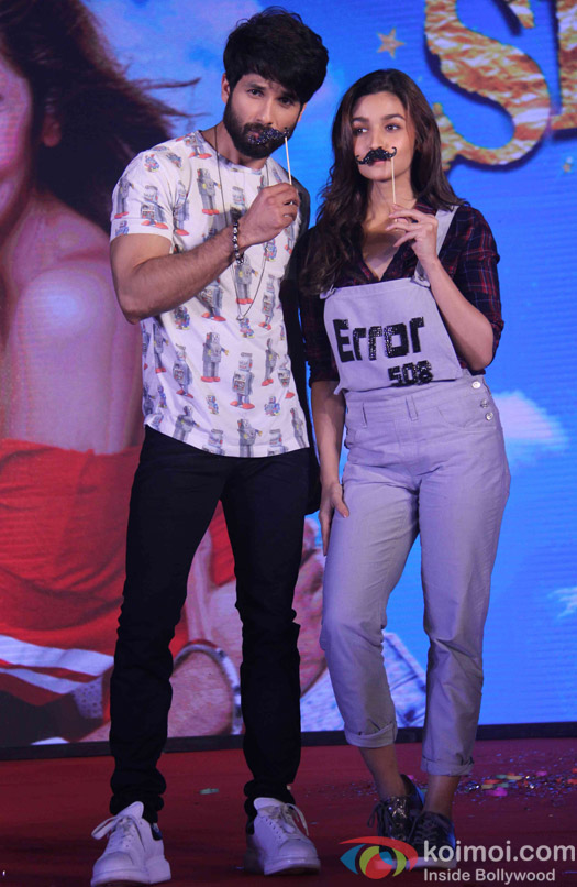 Shahid Kapoor and Alia Bhatt during the music launch of shaandaar