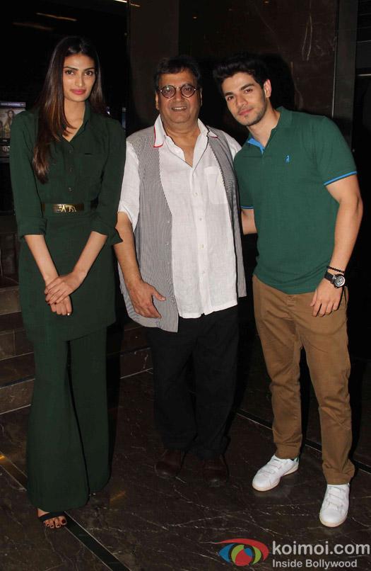 Athiya Shetty, Subhash Ghai and Sooraj Pancholi during the special screening of hero