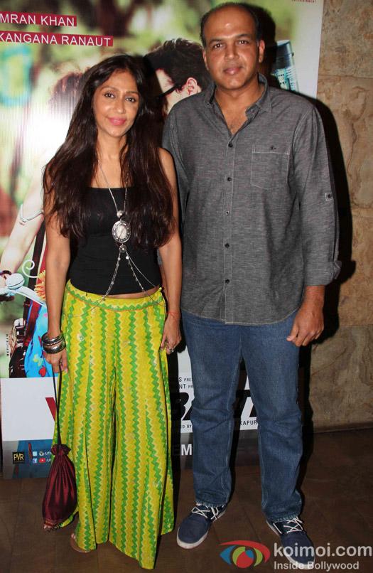 Ashutosh Gowariker And Sunita Gowariker during the screening of movie Katti Batti