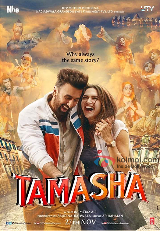 Ranbir Kapoor and Deepika Padukone in the Tamasha's First Look Poster