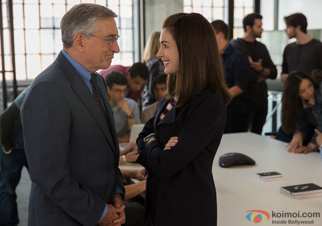 Robert De Niro and Anne Hathaway in a still from movie 'The Intern'