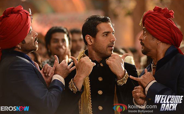 Anil Kapoor, John Abraham and Nana Patekar in a still from movie 'Welcome Back'