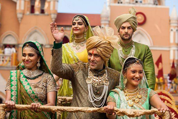 Sonam Kapoor and Salman Khan and Neil Nitin Mukesh in a still from movie 'Prem Ratan Dhan Payo'