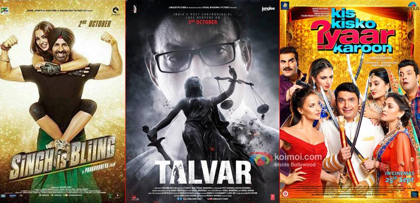 Singh Is Bliing, Talvar and Kis Kisko Pyaar Karoon movie posters