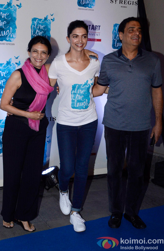 Deepika Padukone, Ronnie Screwvala and Zarina Mehta during the launch of her NGO The Live Love Laugh Foundation