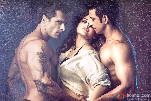 Karan Singh Grover, Zarine Khan and Sharman Joshi in still from movie Hate Story 3