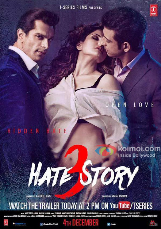 Karan Singh Grover, Zarine Khan and Sharman Joshi in a still from 'Hate Story 3' movie poster