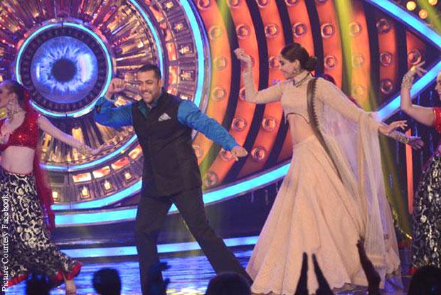 Salman Khan and Sonam Kapoor on the sets of Bigg Boss 9