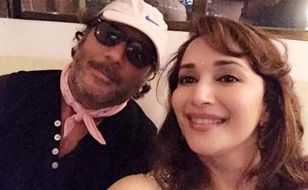 Jackie Shroff and Madhuri Dixit At Subhash Ghai's House