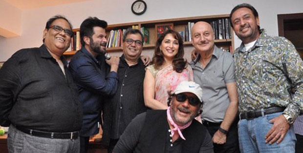 Satish Kaushik, Anil Kapoor, Madhuri Dixit, Jackie Shroff and Anupam Kher At Subhash Ghai's House