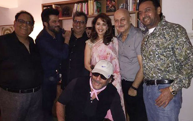 Gulshan Grover, Satish Kaushik, Anil Kapoor, Madhuri Dixit, Jackie Shroff and Anupam Kher At Subhash Ghai's House