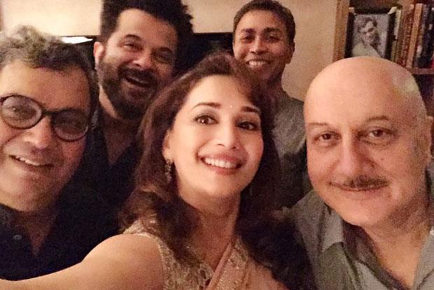 Anil Kapoor, Madhuri Dixit and Anupam Kher At Subhash Ghai's House
