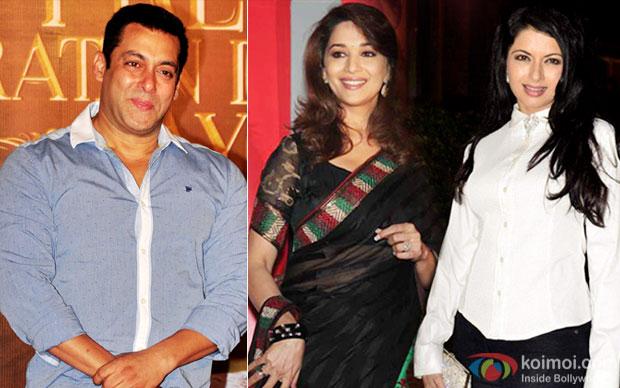 Salman Khan, Madhuri Dixit and Bhagyashree