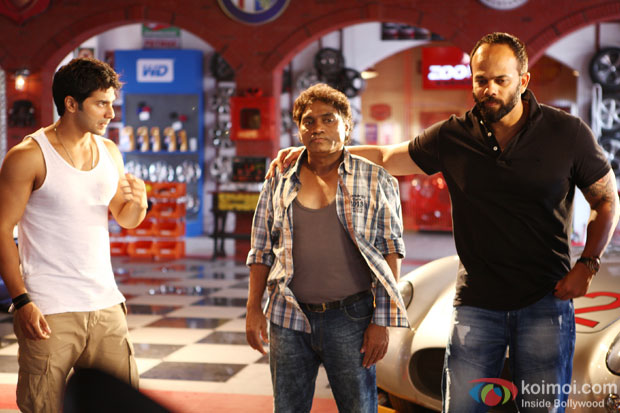 Varun Dhawan, Johnny Lever and Rohit Shetty on the sets of 'Dilwale'